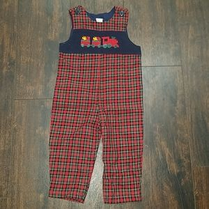 STARTING OUT plaid xmas train caboose overalls 18m